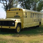 old school bus welcoming you to greensburg