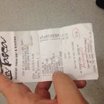 Our receipt from a trip to spain