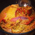 Lobster paella with broth