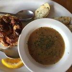 Goat cheese, tomato and mozzarella quiche with French onion soup.