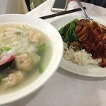 Won ton with ho fun in soup.  Char Sui & Crispy belly pork with rice.