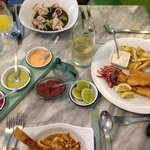 Outstanding seafood cebiche, octopus with lime sauce and fish with potatoes.