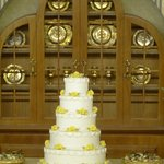 This wedding cake is abt 2 inches high