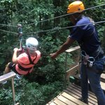 Fun time zip lining through the rain forest! Guides made it extra fun!