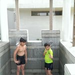 Shower after the swim !!