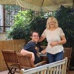 David and Nicloa in the garden