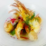 Array of seared Moreton Bay Bugs, Prawns and Scallops on sauce Meuniere