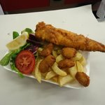 Cod, Scampi and chips, fershly cooked to eat in our restaurant