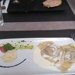 Foie gras et ravioles de serrano