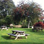 Large child friendly beer garden with stream