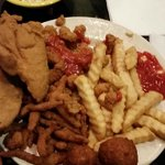 Fried Sampler:  2 Fish, 2 Oysters, handful of clams and baby shrimp with fries