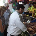 Chef Alejandro selecting chilis for our cooking class