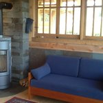 "Sleeper Sofa and Hearthstone""Bari"" Wood Stove Hilltop House Main Cabin"