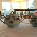 Cute vintage sugar bowls on the tables