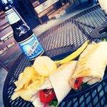 Craft beer, custom made deli wrap, outdoor seating