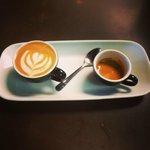 Traditional Machiatto and espresso