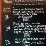 Ardoise, menu change quotidiennement