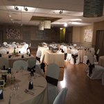The wedding dinner service all set and ready to g.