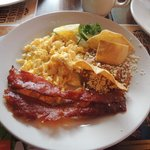 Scrambled eggs and bacon plate
