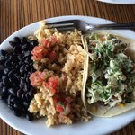 Taco plate black beans and brown rice
