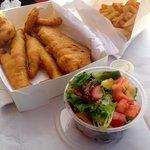 Fish two ways, scallop, calmari rings, salad and chips