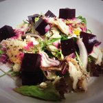 Lunch Menu - Peppered Mackerel, beets & goats cheese salad