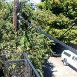 Power lines near balcony railing