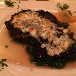Very tasteless portobello mushroom with spinach and gruyere cheese.