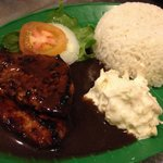 Chicken chop rice with black pepper sauce