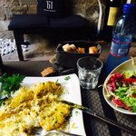 Curry chicken and mixed salad