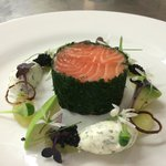 Ballotine of salmon wrapped in fresh herbs