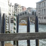 The view of the Rialto Bridge from hotel jetty