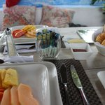 Breakfast by the pool - first course fresh fruits & pastries