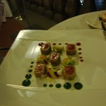 Tuna with pistachio and red berry