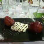 Pears with sweet Malaga wine