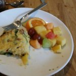My goat cheese spinach omlette with mixed fruit