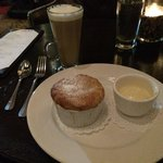 Apple dessert w/vanilla bean ice cream and coffee cocktail