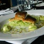 Lightly pickled mackerel, cucumber to spaghetti, avocado puree, fennel pollen