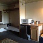 Vanity, safe, microwave and refrigerator