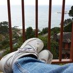 Relaxing on balcony