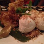 Fried plantation bananas drizzled with honey and served with coconut ice cream.