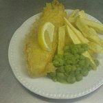 Oap cod chips and peas