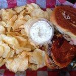 Pulled pork & ham sandwich