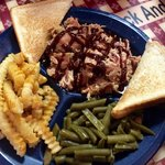 Platter (one 8 oz pulled pork with green beans and fries)