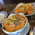 Pork Red Curry and Shrimp Pad Thai