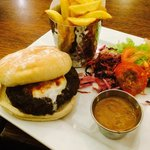 Amazing burger with the most delicious peppercorn sauce