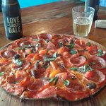 Pepperoni pizza and lovedale lager