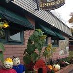 Pumpkin People in front of Yesterday's Restaurant