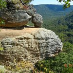 """a rock formation and a similar """"crag"""" just behind the crag"""
