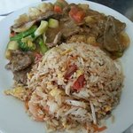 Satay beef with fried rice